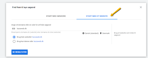 Google Ads: Forslag til søgeord til søgeordsanalyse