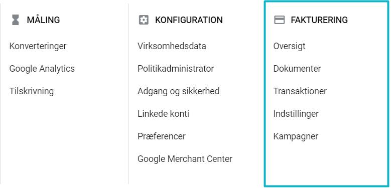 Betalingsmetoder i Google Ads